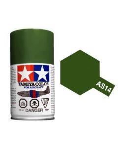 Tamiya AS-14 Olive Green (USAF) 100ml Spray Paint for Scale Models - 86514